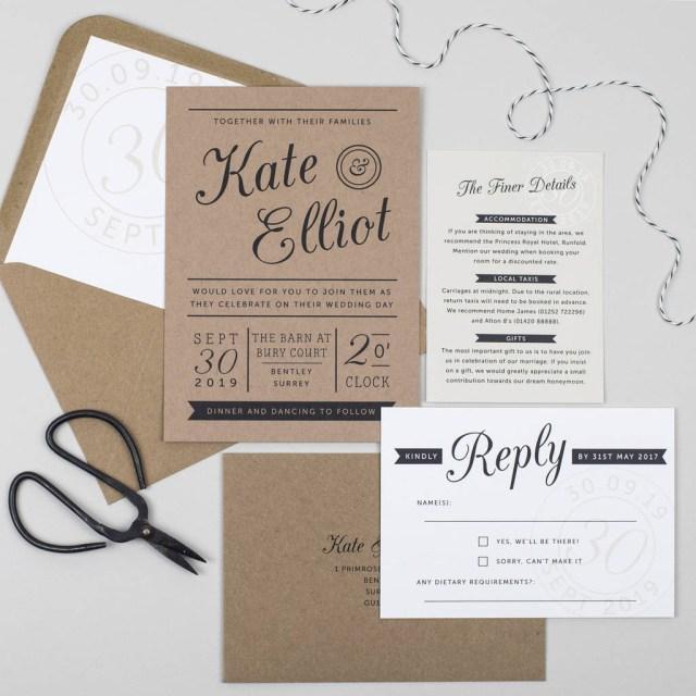 Paper For Wedding Invitations Kraft Stamp Wedding Invitation Pear Paper Co