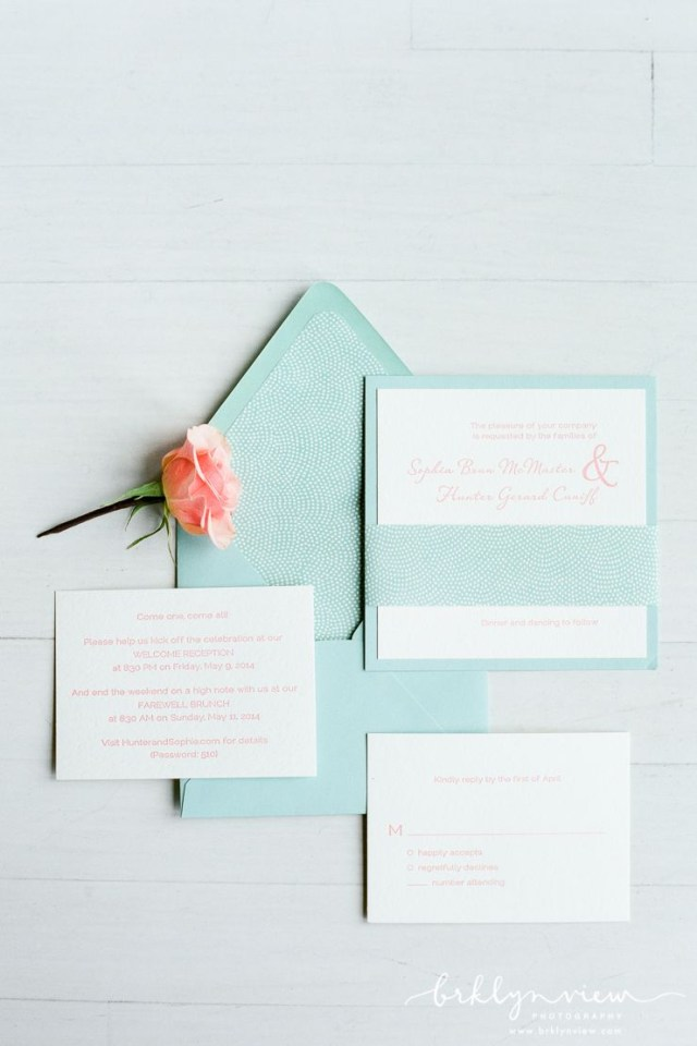 Paper Source Wedding Invitations Light Blue Stationery Suite With Peach Accents Paper Source