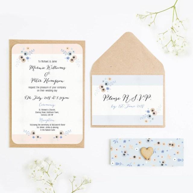 Peach Wedding Invitations Floral Peach And Cornflower Blue Wedding Invitations