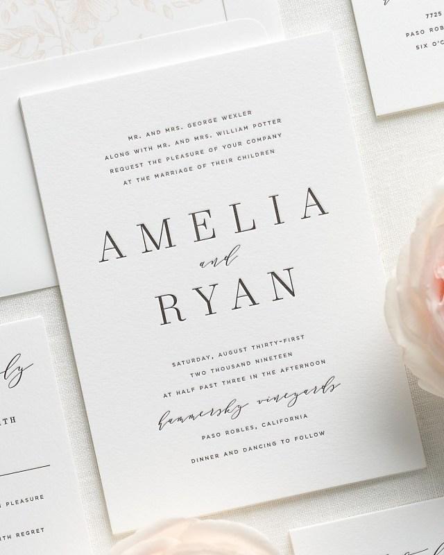 Peach Wedding Invitations Modern Serif Wedding Invitations In Whipped Peach Wedding Invitations