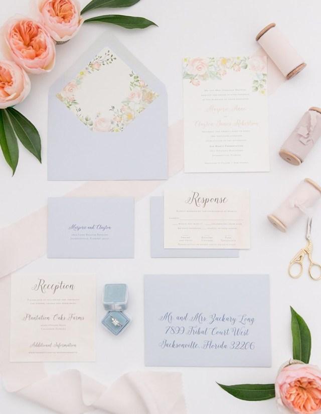 Peach Wedding Invitations Peach And Dusty Blue Floral Wedding Invitation My Southern Wedding