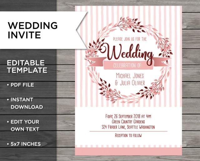 Peach Wedding Invitations Peach Invitation Rose Gold Wedding Wedding Invite Pixel Phoenix
