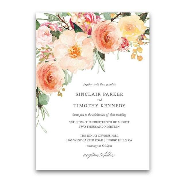 Peach Wedding Invitations Peach Wedding Invitations Blush Peach Floral Greenery Wedding Pros