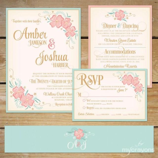 Peach Wedding Invitations Printable Floral Wedding Invitation Suite Diy Wedding Invite