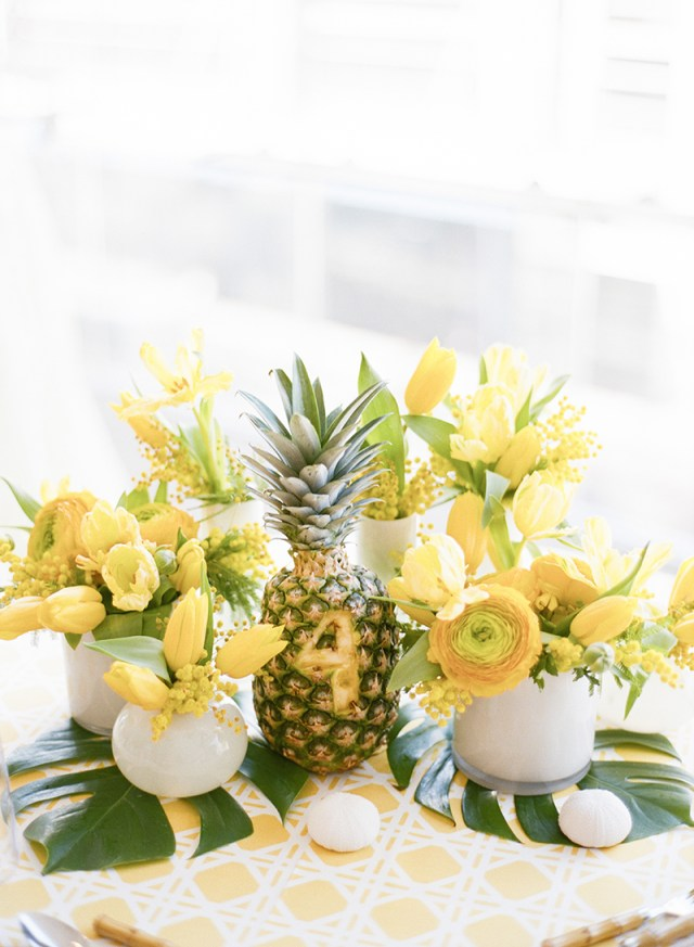 Pineapple Wedding Decor Cheerful Colorful Bright Yellow Wedding Inspiration United With Love
