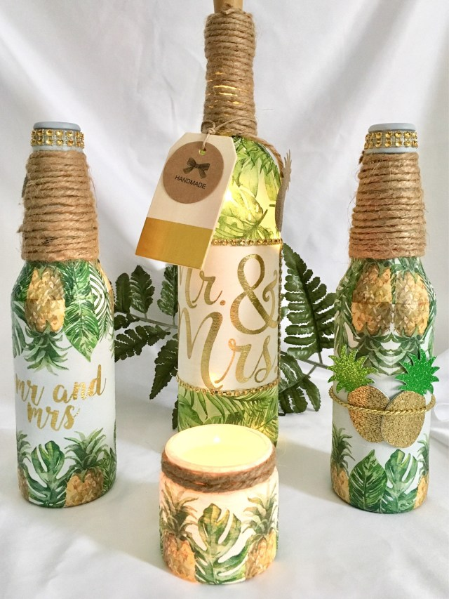 Pineapple Wedding Decor Pineapple Palm Lighted Bottles Lighted Bottles Lighted Jars Summer