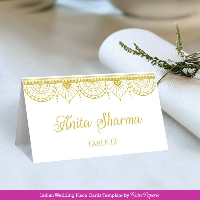 Placecards Wedding Diy Wedding Place Cards Printable Diy Wedding Place Card Indian Etsy
