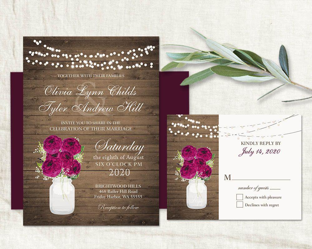 graphic regarding Printable Rustic Wedding Invitations named Plum Marriage Invites Plum Marriage Invitation Template