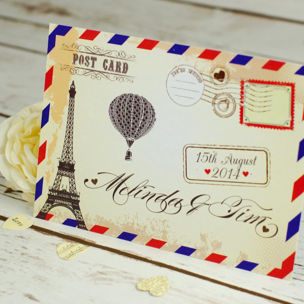 Postcard Wedding Invitations Flat Wedding Invitations Bluebird Wedding Stationery