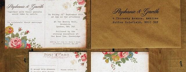 Postcard Wedding Invitations Floral Illustration Postcard Invitation Feel Good Wedding