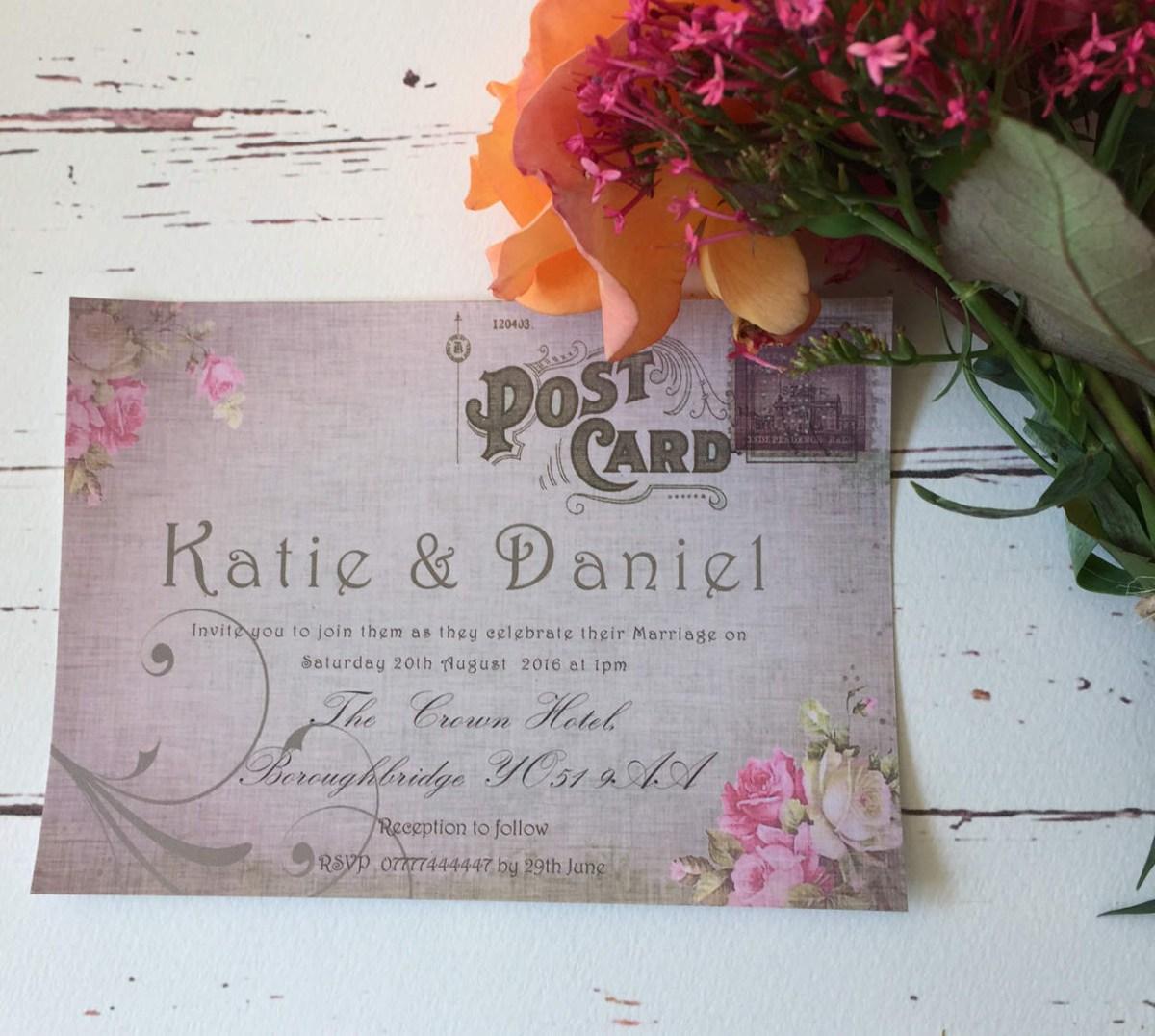 Postcard Wedding Invitations Postcard Style Wedding Invitations