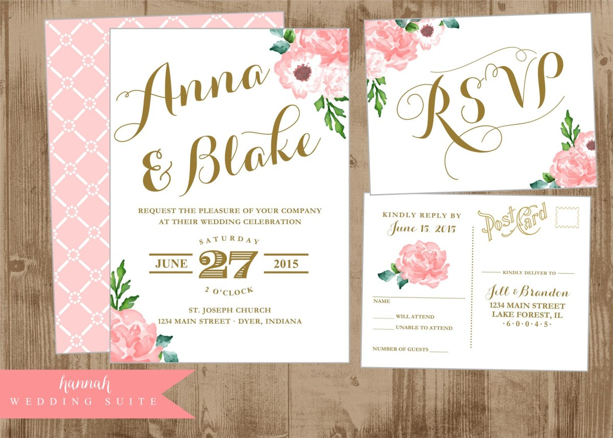 Postcard Wedding Invitations Printable Wedding Invitation Suite Pink And Gold Vintage Postcard