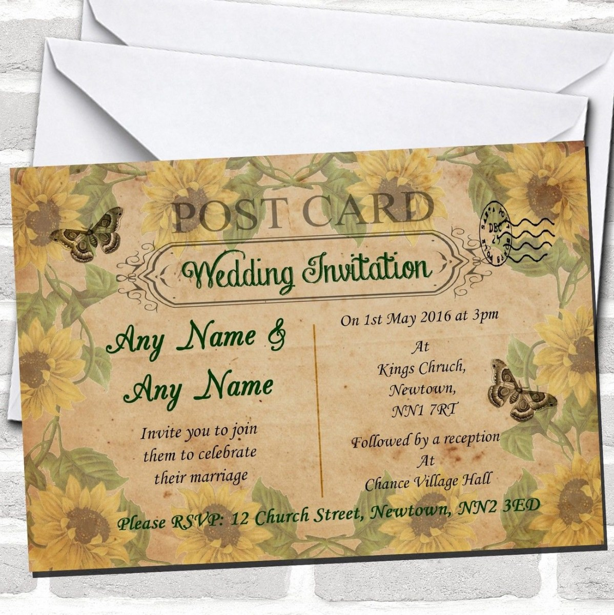 Postcard Wedding Invitations Sunflowers Vintage Shab Chic Chic Shab Postcard Wedding
