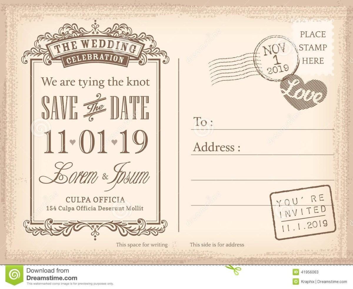 Postcard Wedding Invitations Vintage Postcard Save The Date Background For Invitation Save