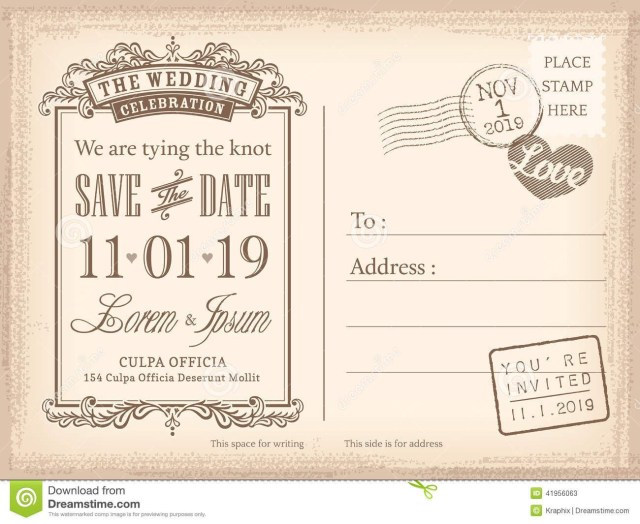 Postcard Wedding Invitations Vintage Postcard Save The Date Background For Invitation Save