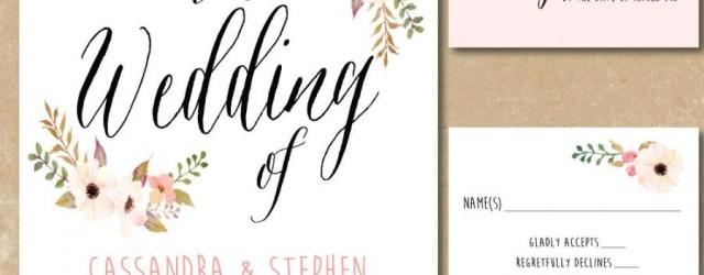 Print Your Own Wedding Invitations Printable Floral Invitations Watercolor Wedding Invitation Print