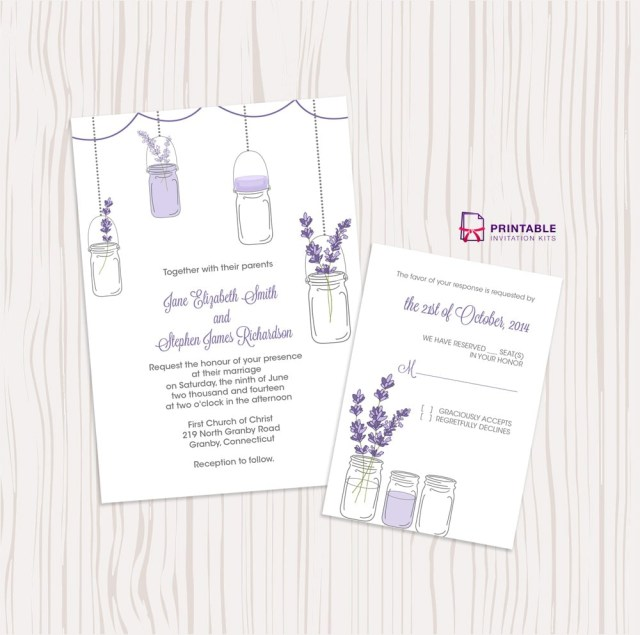 Printable Wedding Invitation Kits Lavender And Mason Jar Wedding Invitation Free Printable Wedding