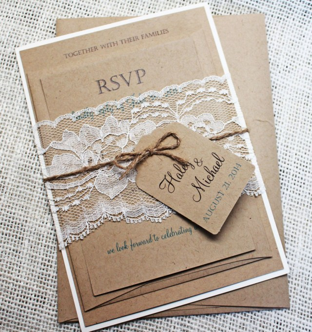 Printable Wedding Invitation Kits Rustic Lace Wedding Invitation Lace Wedding Invite Country Wedding