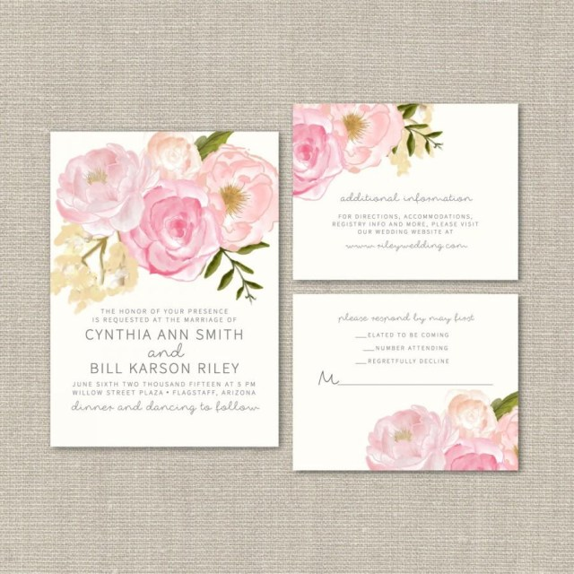 Printable Wedding Invitation Kits Wedding Invitation Suite Deposit Diy Watercolor Floral Rustic