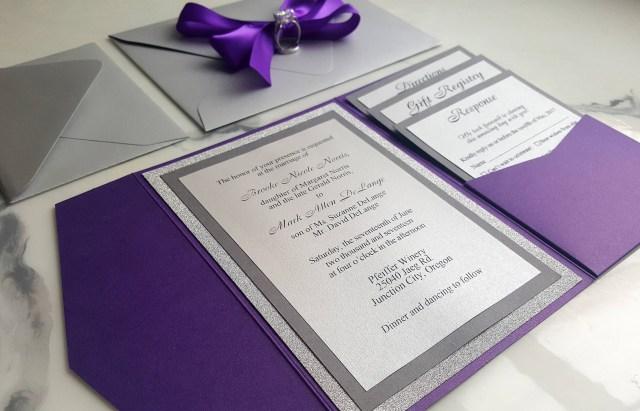 Purple And Silver Wedding Invitations Purple Silver Wedding Invitations Metallic Pocket Fold Etsy