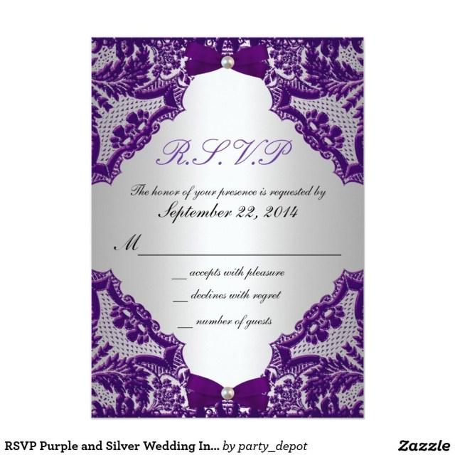 Purple And Silver Wedding Invitations Rsvp Purple And Silver Wedding Invitation Silver Wedding