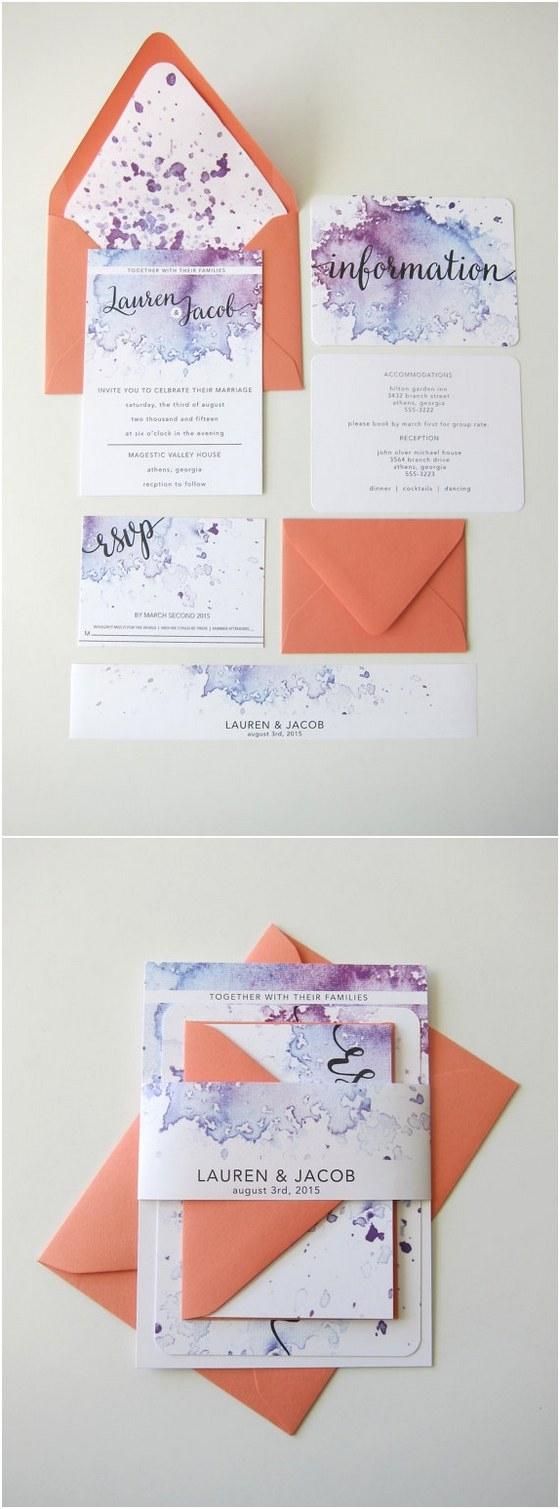 Purple Wedding Invitation Kits 40 Watercolor Wedding Invitation Ideas You Will Love Deer Pearl