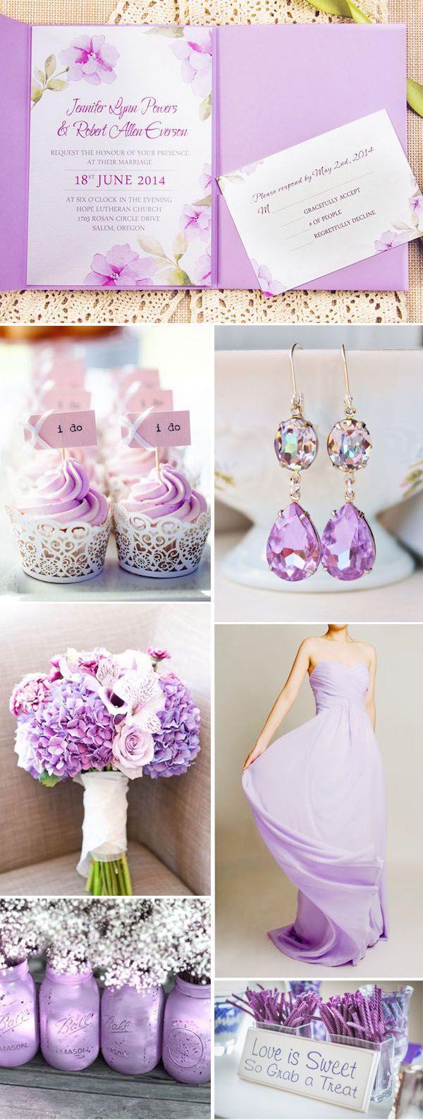 Purple Wedding Invitation Kits Exquisite Watercolor Flower Lace Pocket Wedding Invitation Kits