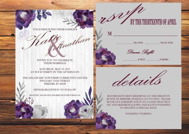Purple Wedding Invitation Kits Gray And Purple Wedding Invitation Kit Etsy