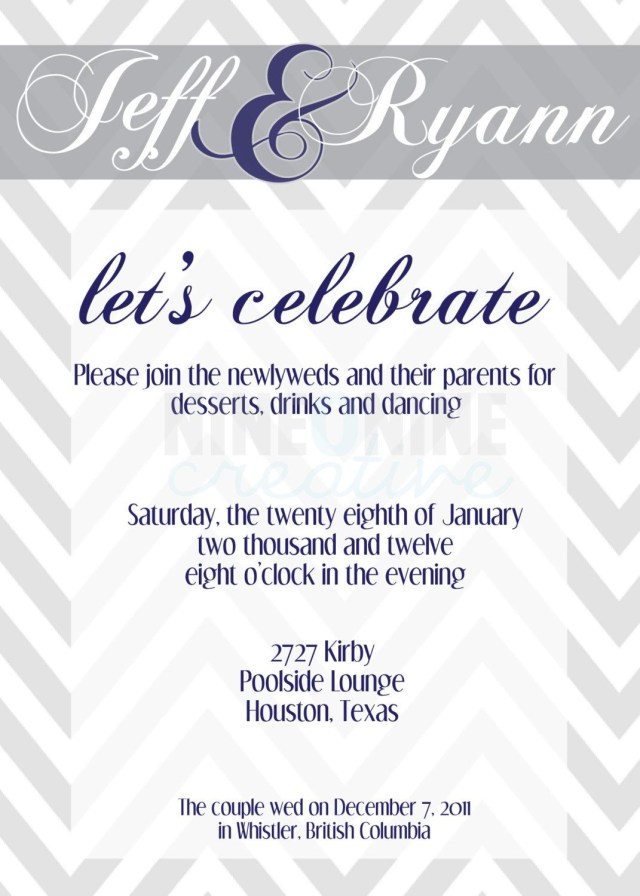 Reception Invitation Wording After Private Wedding Wedding Reception Invitation Nineoninecreative On Etsy 1200