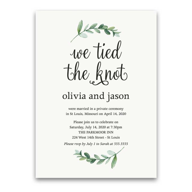 Reception Only Wedding Invitations Reception Only Wedding Invitations Reception Only Greenery