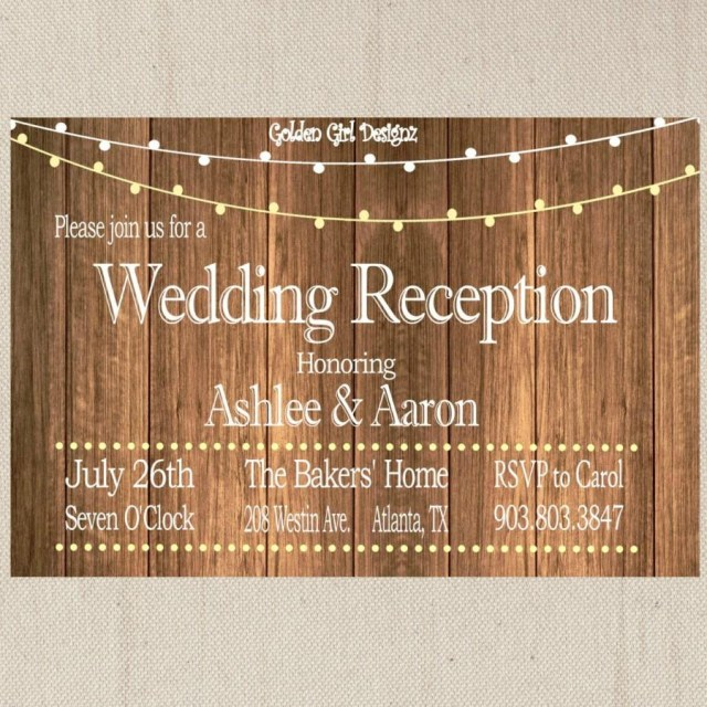 Reception Only Wedding Invitations Vintage Lights Wedding Reception Invitation On Wooden Background