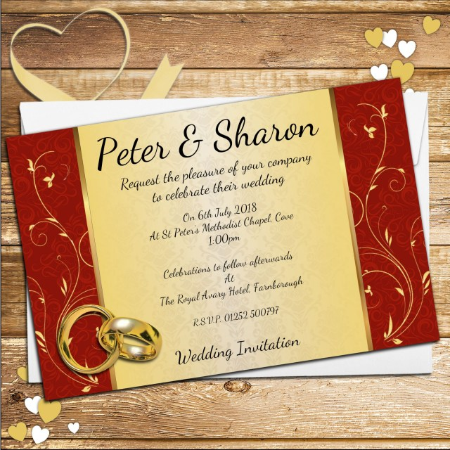 Red And Gold Wedding Invitations 10 Personalised Elegant Red Gold Swirl Wedding Invitations Day Or