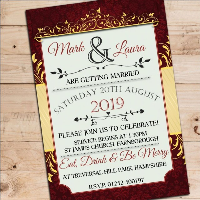 Red And Gold Wedding Invitations 10 Personalised Premium Wedding Invitations Day Or Evening N74 Red