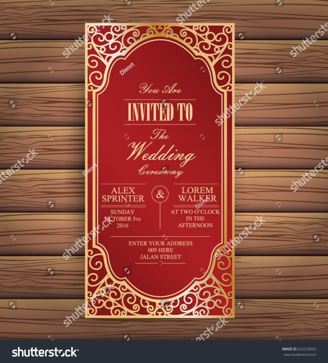 Red And Gold Wedding Invitations Elegant Red Gold Wedding Invitation Card Stock Vector Royalty Free