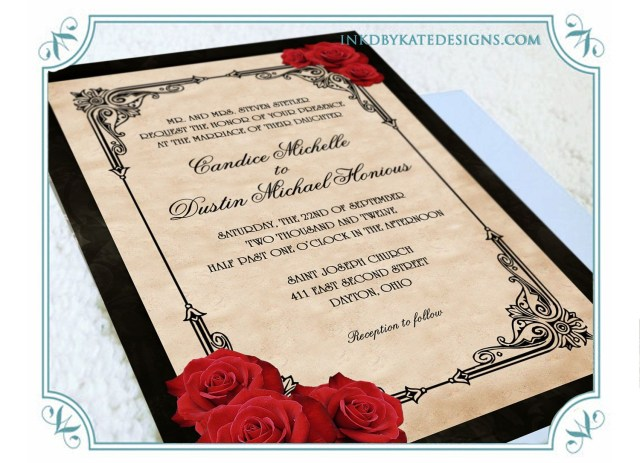 Red And Gold Wedding Invitations Printable Vintage Black And Red Romantic Rose Quinceanera Or Wedding