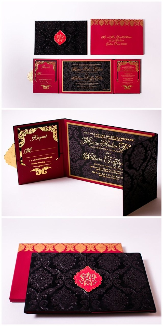 Red And Gold Wedding Invitations Velvet Wedding Invitations Foil Printing For Invitations