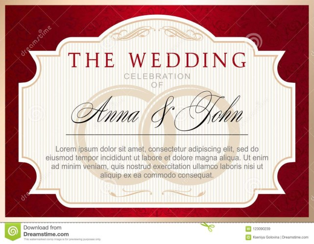 Red And Gold Wedding Invitations Vintage Wedding Invitation Template Ru Red With Gold Stock Vector