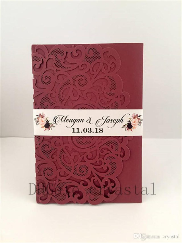 Red Wedding Invitations 2018 Marsala Burgundy Pocket Wedding Invitations Die Cut Laser Cut Jackets Wedding Invites 20 Colors Available