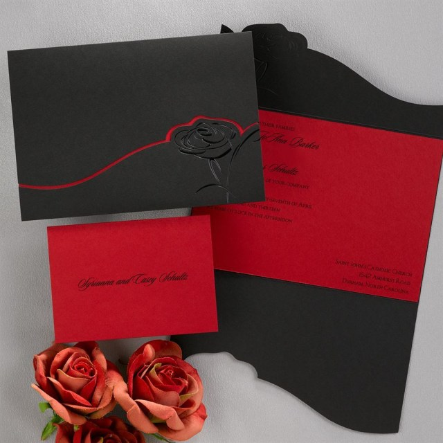 Red Wedding Invitations Dramatic Rose Black And Red Invitation