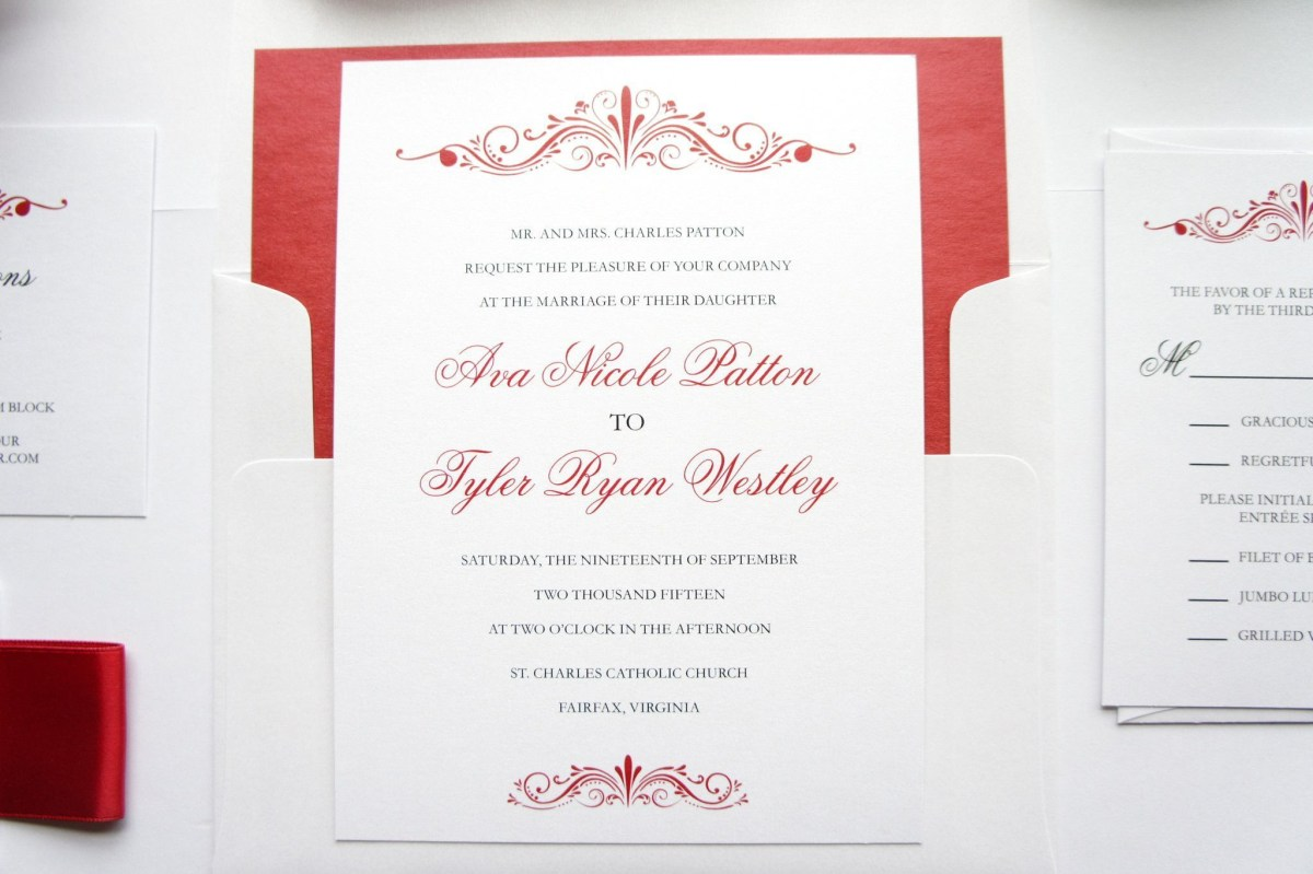 Red Wedding Invitations Elegant Red Wedding Invitation Elegant Wedding Invitation Simple