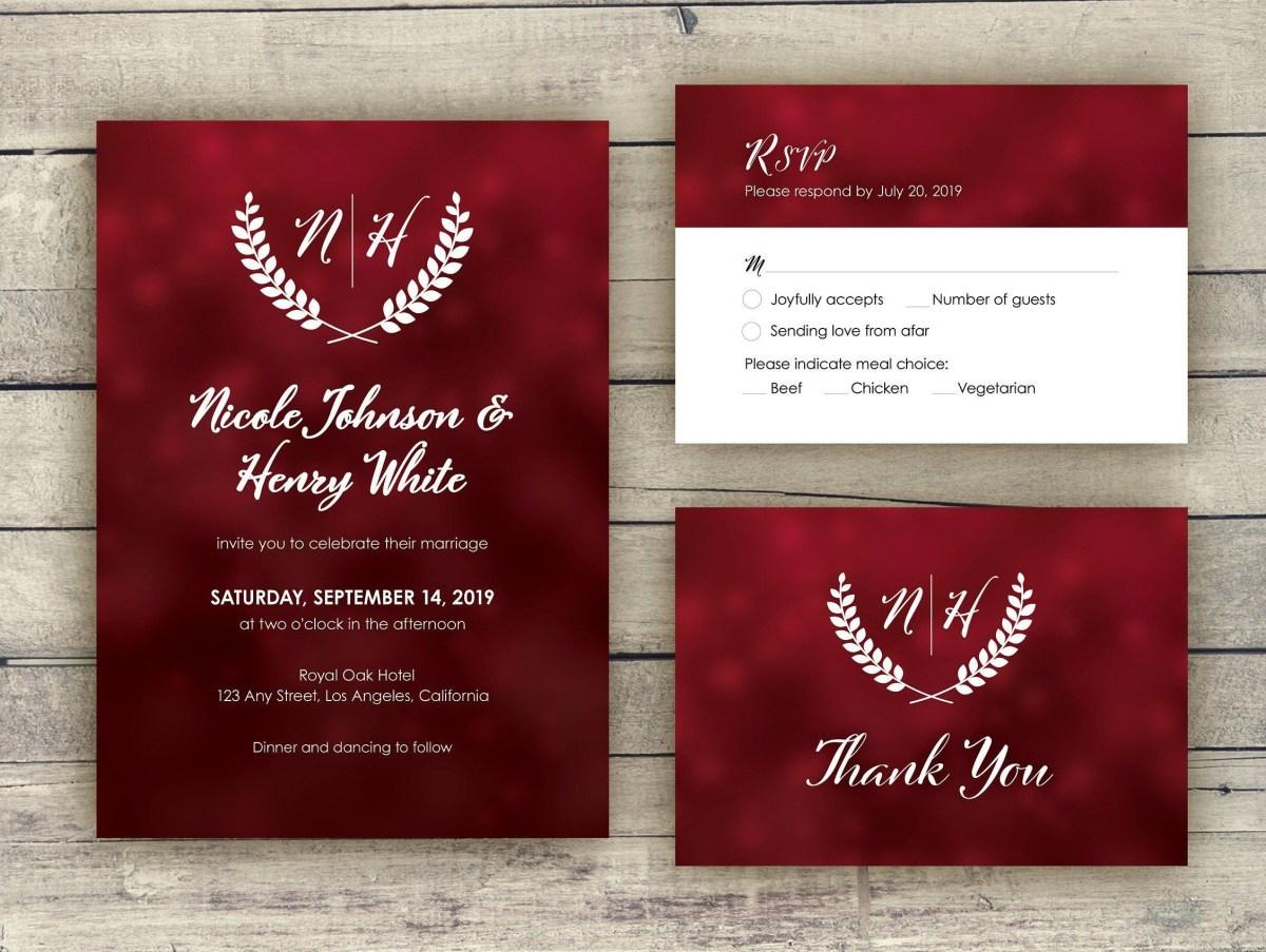 Red Wedding Invitations Red Wedding Invitation Template Wedding Invites With Monogram Logo