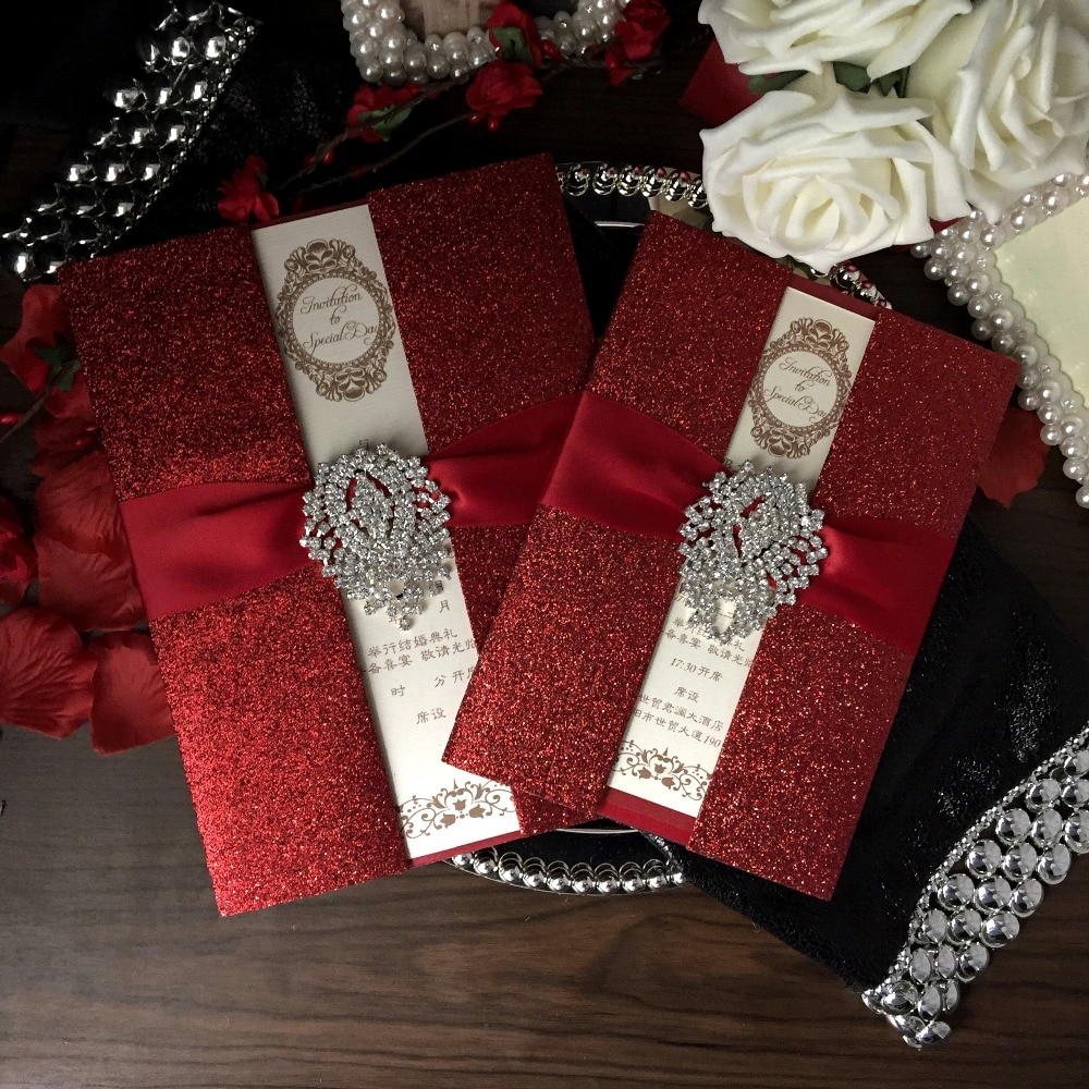 Red Wedding Invitations Red Wedding Invitations Bridal Shower Invitation Luxury Wedding Invitation With Red Ribbon Set Of 30 In Cards Invitations From Home Garden On