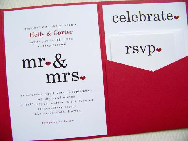 Red Wedding Invitations Red Wedding Invitations Dickybird Designs