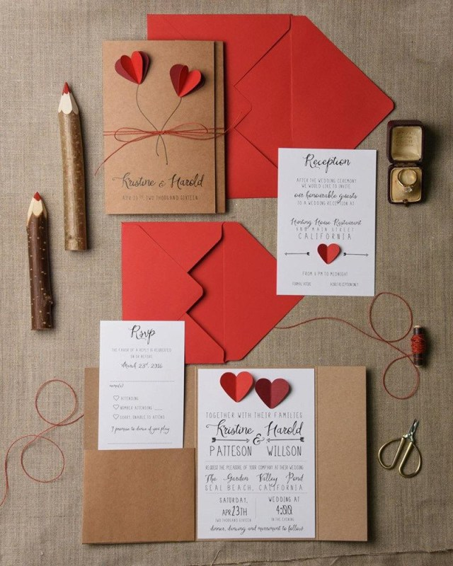 Red Wedding Invitations Rustic Wedding Invitation Set 20 Hearts Wedding Invitation Suite