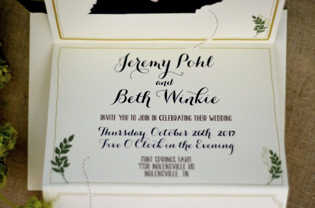 Rsvp Wedding Invitation Floral Leaf With Monogram Trifold Wedding Invitation With Online