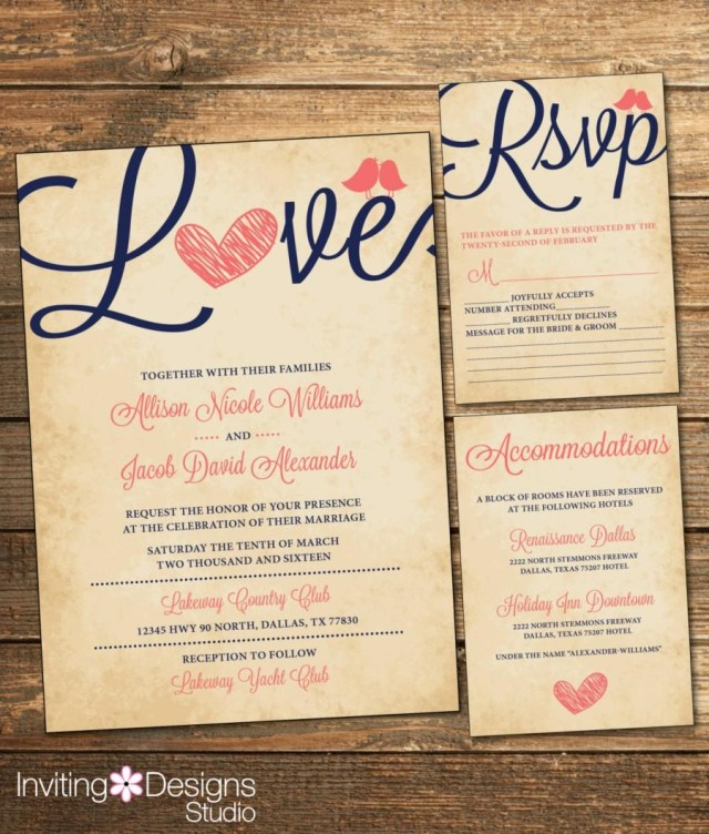 Rsvp Wedding Invitation Rustic Wedding Invitation Love Bird Coral And Navy Vintage Rsvp