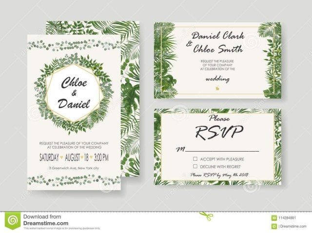 Rsvp Wedding Invitation Wedding Invitation Rsvp Modern Card Design Vector Natural Bot
