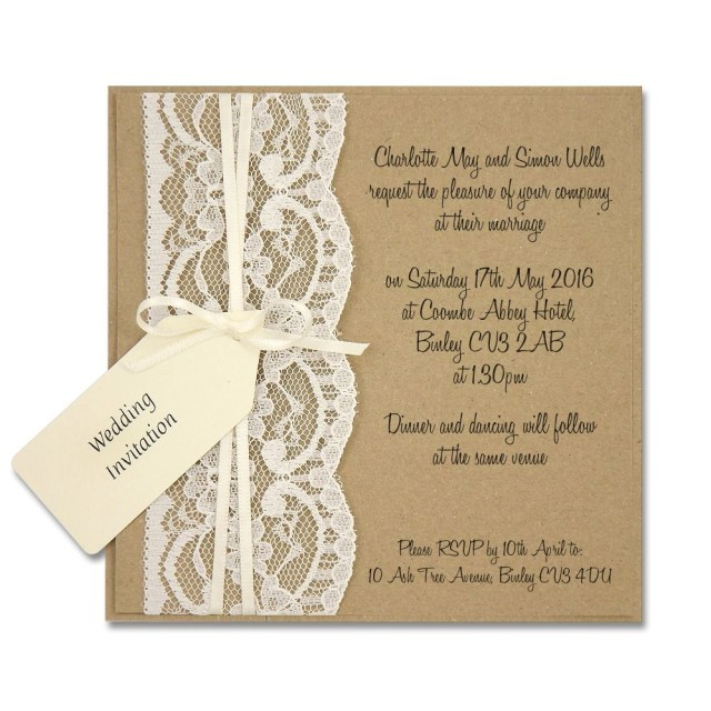 Rustic Chic Wedding Invitations Diy Delicate Rustic Lace Layered Square Invitation Pure Invitation