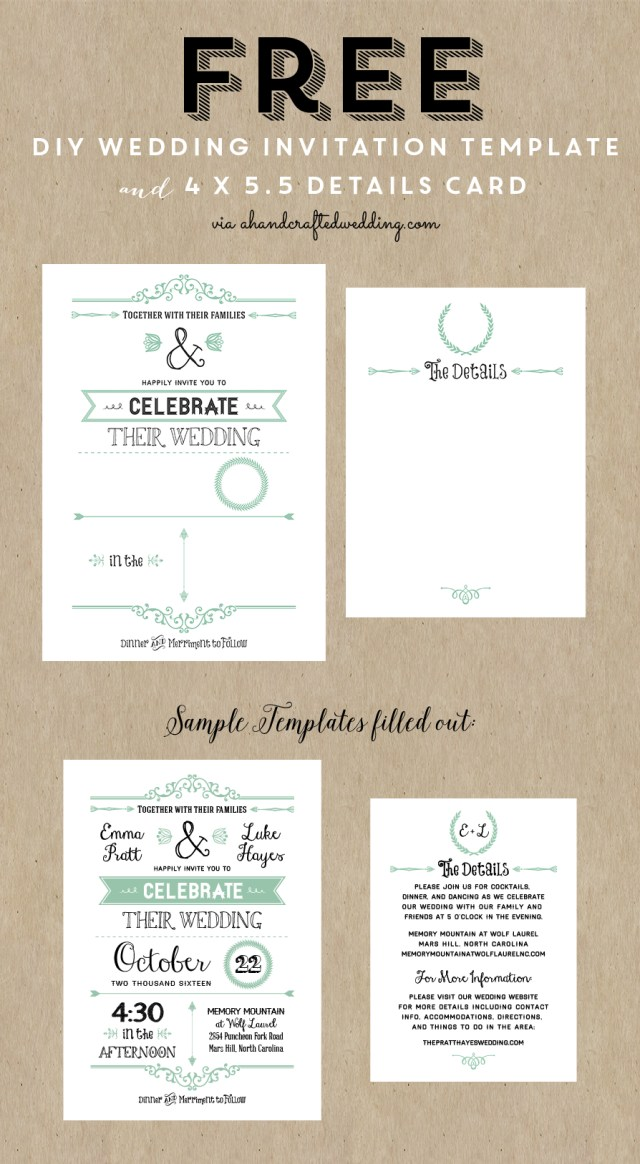 Rustic Chic Wedding Invitations Diy Free Printable Wedding Invitation Template Wedding Pinterest