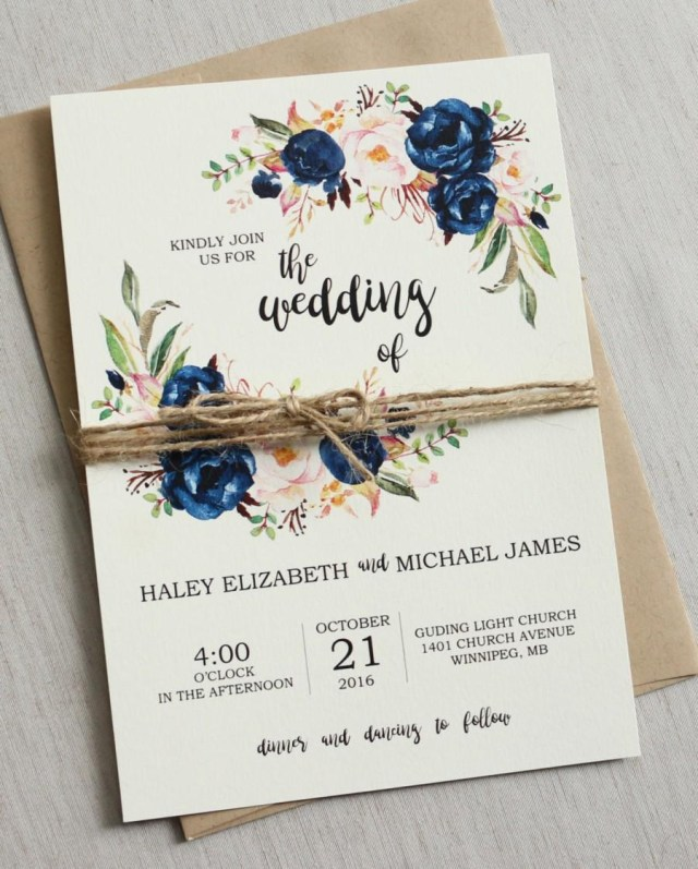 Rustic Chic Wedding Invitations Diy Rustic Navy Wedding Invitation Printable Modern Bohemian Wedding